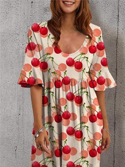Trendy Scoop Neck Cherries Printed Short Sleeve Pleated Midi Dress