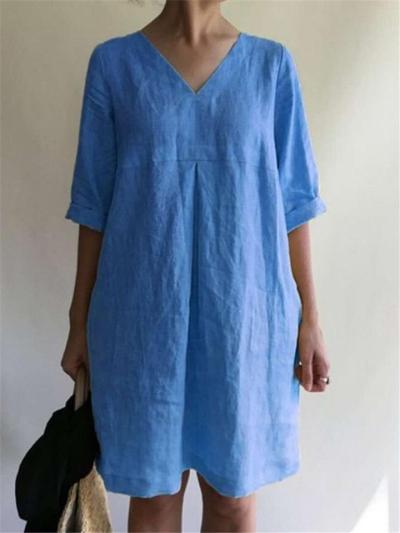 Loose Fit V Neck Half Sleeve Cotton Linen Pullover Midi Dress