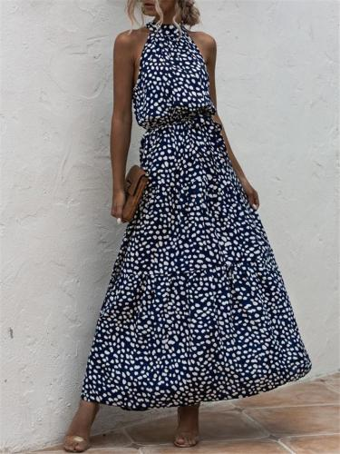 Polka Dot Bandage Halter Sleeveless Dress