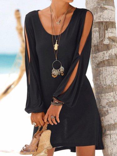 Crew Neck Black Women Summer Dresses Shift Daily Casual Plain Dresses
