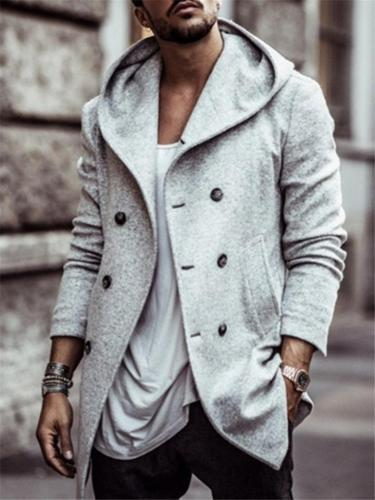Trendy Fit Double Breasted Side Pocket Hooded Coat