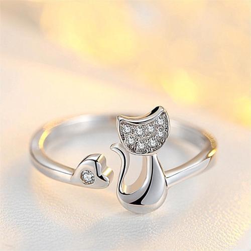 Cute Cat Zircon Stone Adjustable Open Rings