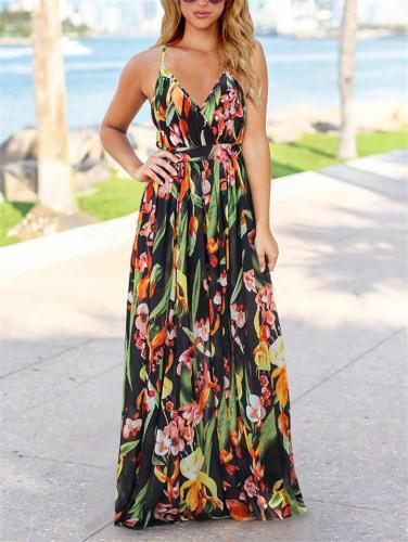 Bohemian Style Wrap Neck Adjustable Strap Floral Maxi Dress