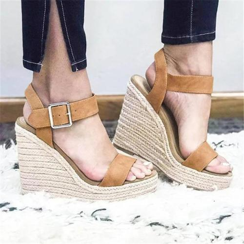 Women Stylish Adjustable Buckle Espadrille Wedges Sandals
