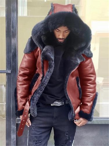 Mens Winter Hooded Luxury Fur Coat