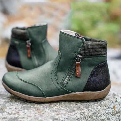 Comfortable Double Zipper Non-Slip Flat Heel Boots
