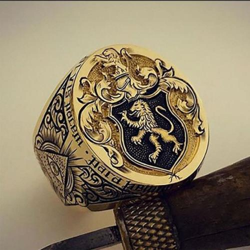 Retro Style England Lion Carved Ring for Anniversary Gift