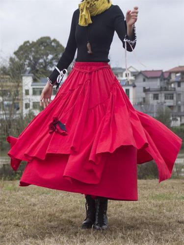Ethnic Style Asymmetric Design Elastic Waist Pleated Flare Skirt
