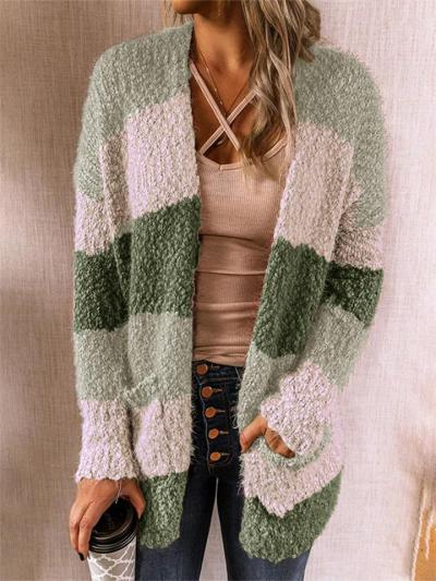 Casual Fit Color Block Open Front Long Sleeve Pocket Cardigan