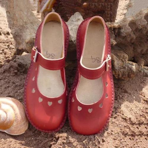 Women's Hollow Heart Shape Round Toe Hook Loop Flat Shoes