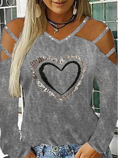 Fashionable V Neck Shoulder Cutout Long Sleeve Sequined Pullover Tops