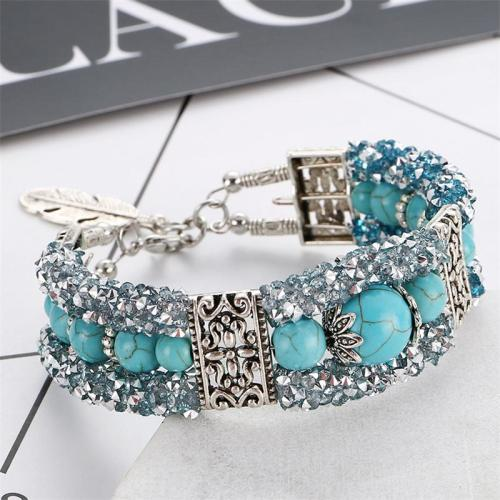Bright Turquoise Feather Beaded Steel Bracelet