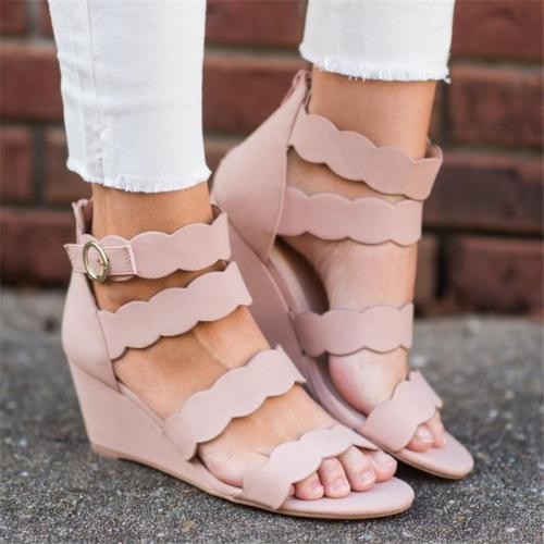 Women Casual Zipper Breathable Solid Color Wedge Sandals