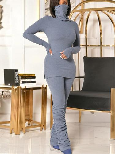 Knitted Two Piece Cowl Neck Face Covering Tops + Skinny Pants