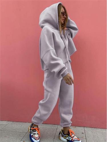 Comfortable Tracksuit Sets Drawstring Hooded Sweatshirt + Sweatpants