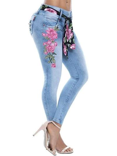 Fashion Slim Fit Stretchy Floral Embroidery Pocket Skinny Jeans