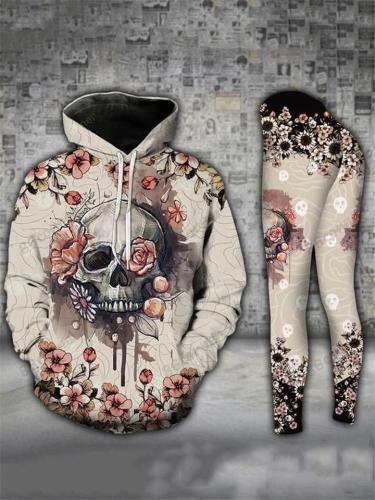 Relaxed Fit 2 Piece Flower Skull Drawstring Pocket Hoodie + Leggings