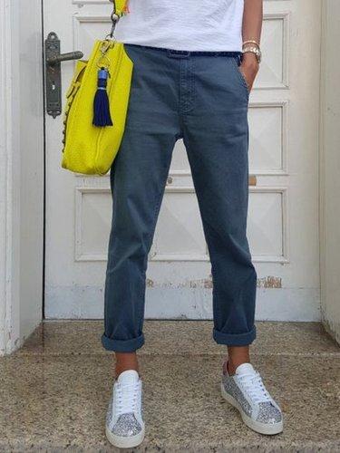 Cotton-Blend Pockets Casual Pants