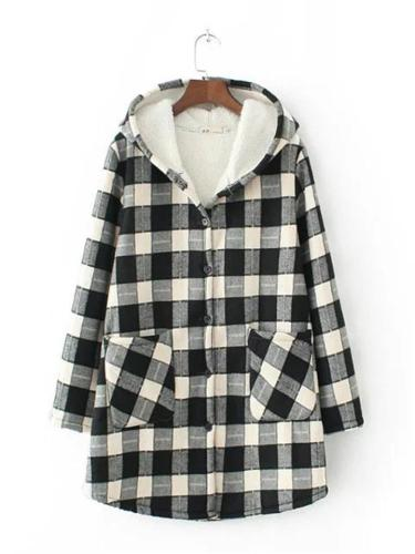 Warm Cozy Thicken Pocket Plaid Button Up Hooded Woolen Midi Coat