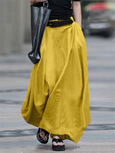 Retro Style Elastic Waist Button Zipper Pocket Flare Maxi Skirt