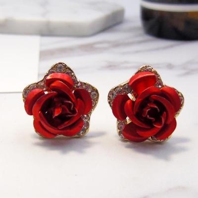 Beautiful Rose Flower Shaped Earring Studs For Women