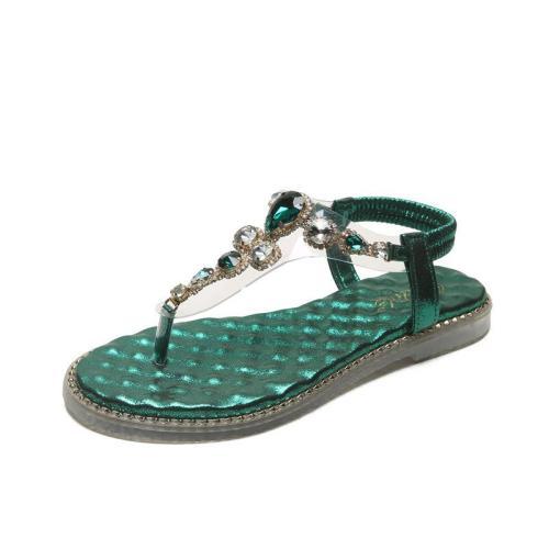 Women Casual Summer Daily Comfy Rhinestone Flat Sandals