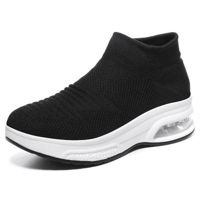 Breathable Rocker Bottom Sweat-Absorbing Thick-Sole Mesh Non-Slip Sneakers