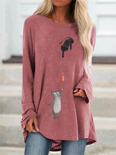 Women's Cute Cartoon Cats Pattern Long Sleeve Casual T-shirts