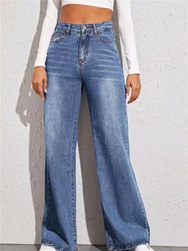 Trendy Front Button Up Washed Wide Leg Pocket Denim Pants