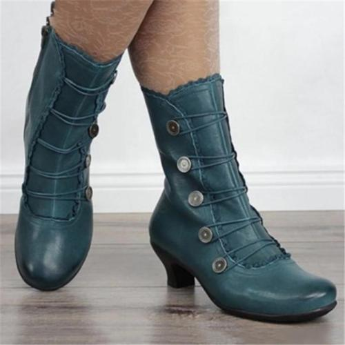Vintage Style Buckle Up Faux Leather Mid-Calf Boots