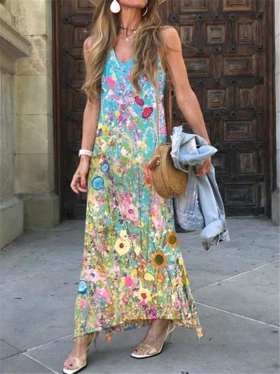 Bohemian Style V Neck Floral Printed Sleeveless Maxi Dress