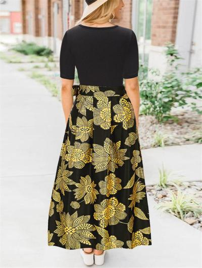 Stylish V Neck Short Sleeve Fitted Waist Floral Printed Maxi Pleated Dress