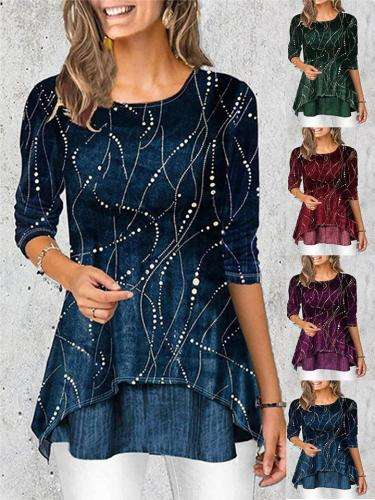 Stylish Round Neck 3/4 Sleeve Printed Pullover Shirt