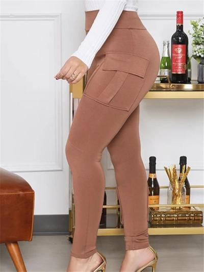 Casual Fit High-Rise Multi-Pocket Cargo Leggings Skinny Pants