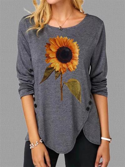 Asymmetric Hem Round Neck Sunflower Long Sleeve Pullover Tops
