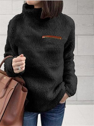 2019 Fall Winter Fashion Zip Turtleneck Sweater