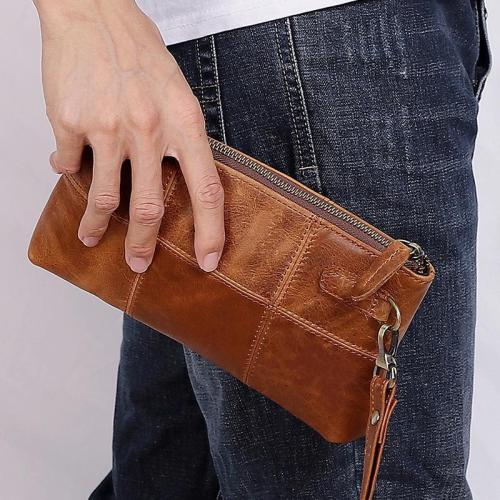 Men's Genuine Leather Patchwork Long Wallet
