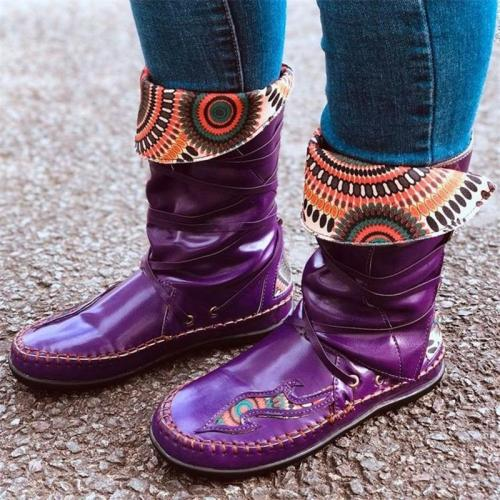 Vintage Style Non-Slip Durable Printed Mid-Calf Flat Boots