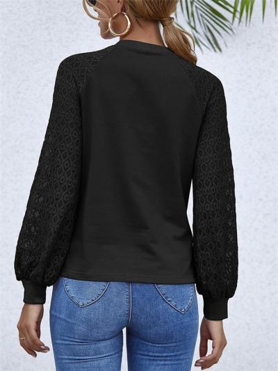 Minimalist Style Round Neck Cutout Style Long Sleeve Pullover Tops