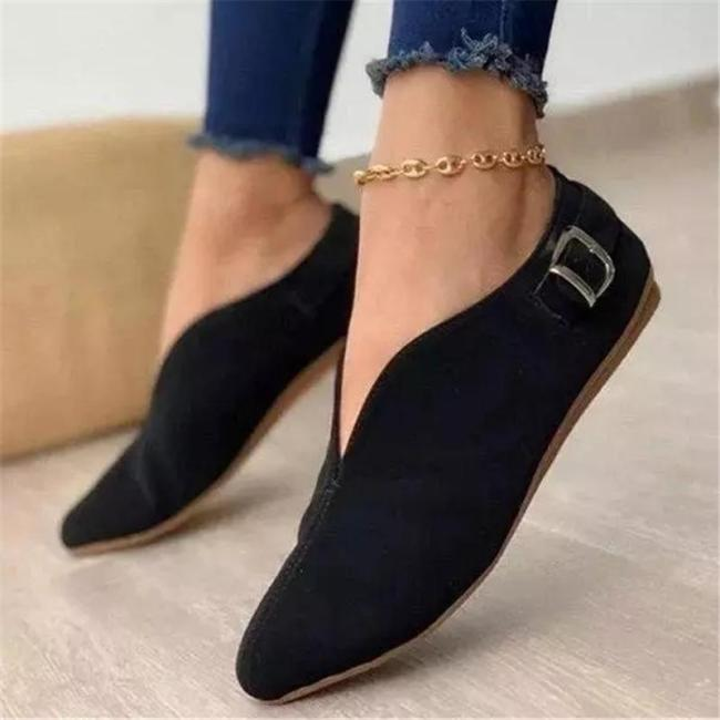Retro Style Flat Heel Low-Cut Lightweight Pointed Toe Loafers
