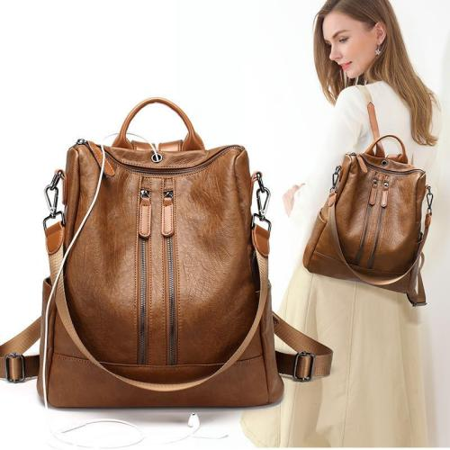 Women's Soft Leather Travel Leisure Multi-function Backpack