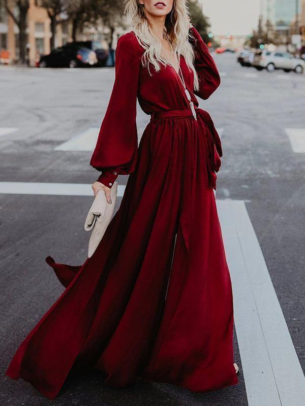 V-neck Long Sleeves Belted Maxi Dress