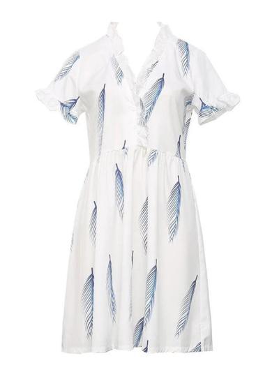 Stylish V Neck Ruffled Design Short Sleeve Feather Printed Flare Dress