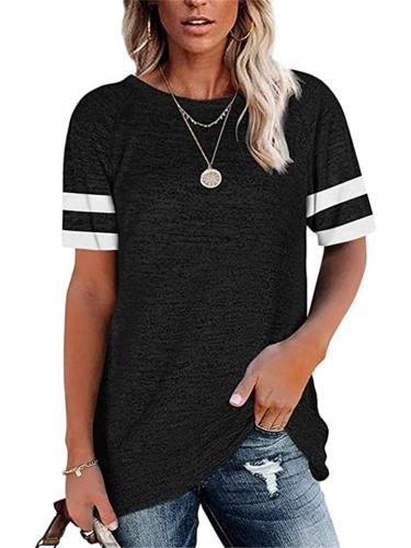 Casual Fit Round Neck Short Sleeve Striped Pullover Tops