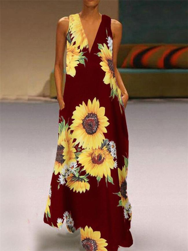 Boho Floral Printing V-Neck Lightweight Maxi Dress For Women