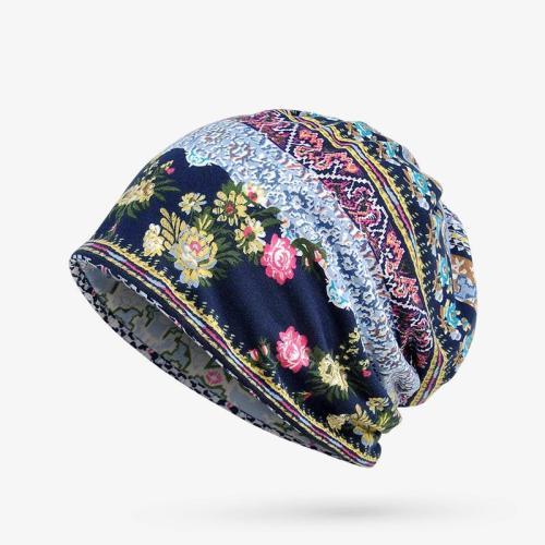 Cute Floral Printed Dual-Use Cotton Cap Scarf