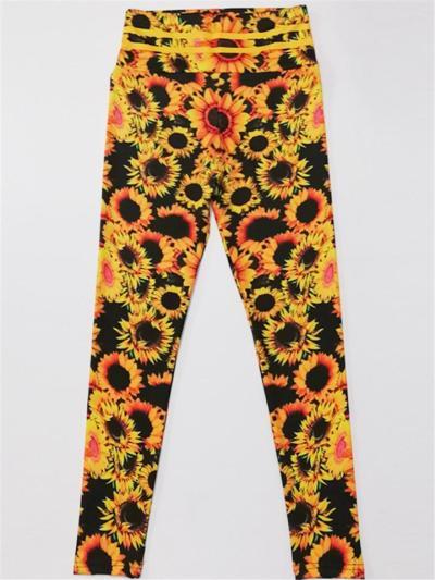 Slim Fit High-Rise Sunflower Printed Yoga Leggings Jogger Pants
