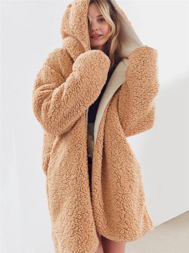 Cozy Warm Reversible Open Front Fleece Fur Hooded Coat