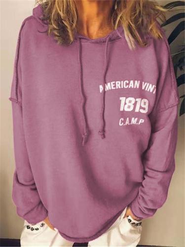 Loose Fit Letter Printed Long Sleeve Drawstring Hooded Sweatshirt