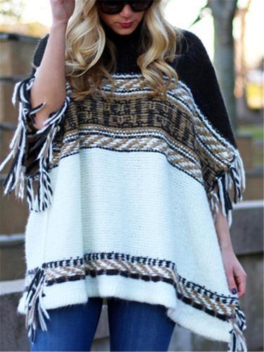 Stylish Turtle Neck Fringed Sweater Cloak Tops